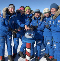 First all-female team to cross Antarctica on muscle power.